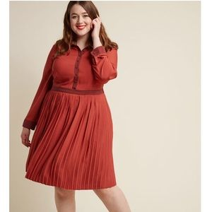 Modcloth Dresses - ModCloth typist Long Sleeve dress rust/brick XL